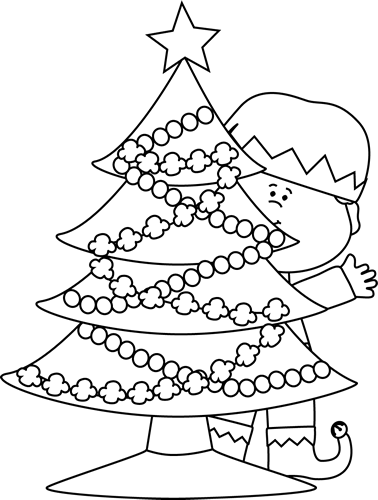 Black and White Elf Behind a Christmas Tree Clip Art