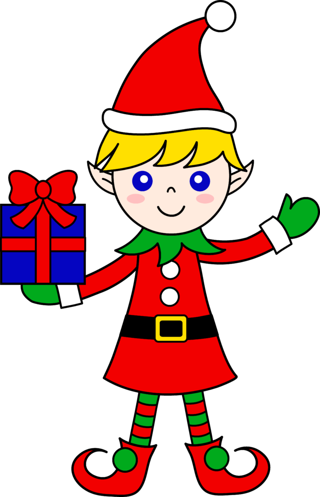 Cute christmas elf with t free clip art  ClipartAndScrap