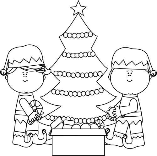 Black and White Elves Decorating a Tree Clip Art  Black