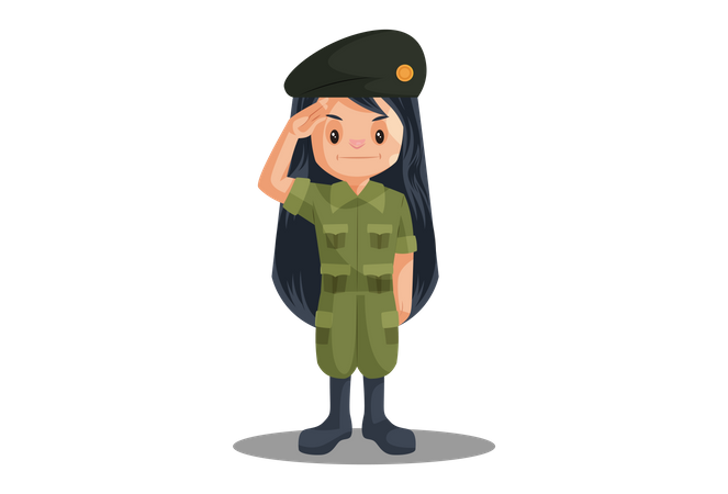 Premium Indian Female Soldier Saluting on Independence Day