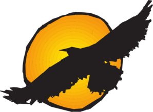 Hawk Silhouette Flying Near Sun Clip Art at Clkercom