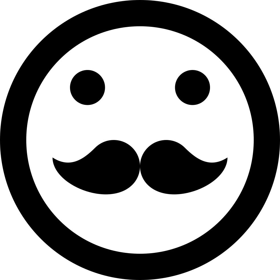 Hipster Emoticon Smiley Mustache Face Svg Png Icon Free Download 1530  OnlineWebFontsCOM