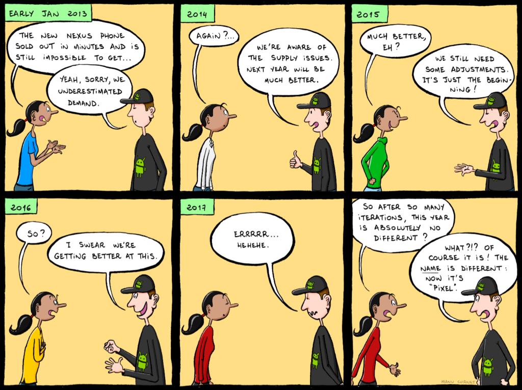 Google Pixel shortages cartoon  Business Insider