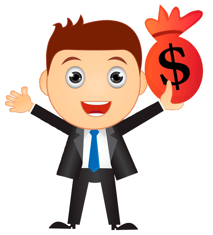 Businessman with money bag clipart Free download