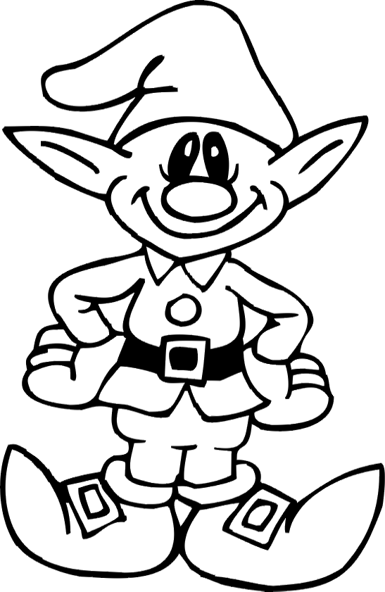 Elf clipart coloring page Elf coloring page Transparent
