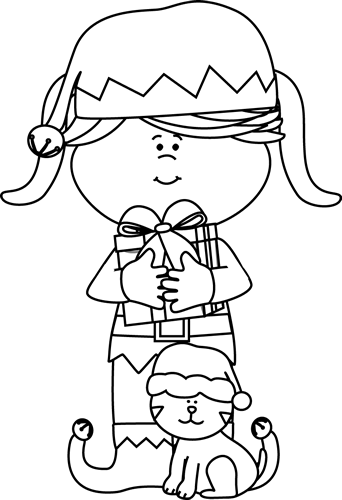 Black and White Girl Elf with Cat Clip Art  Black and