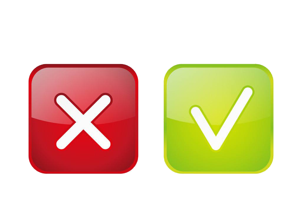 Green Check mark Red Icon  Green hook and red cross png
