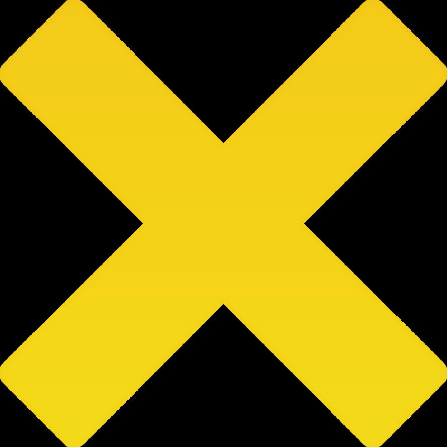 Minimalist X Mark Clip Art Medium Size  Yellow Cross Mark