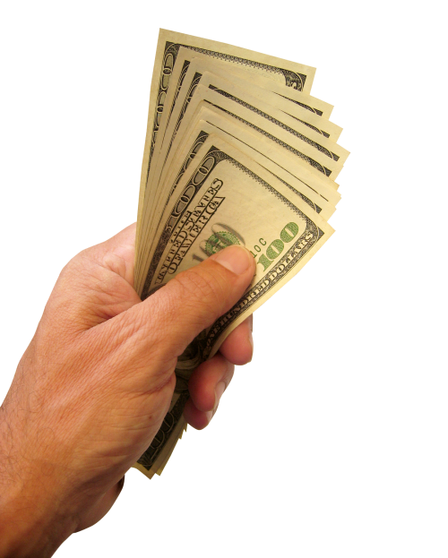 Library of holding money in hand image transparent