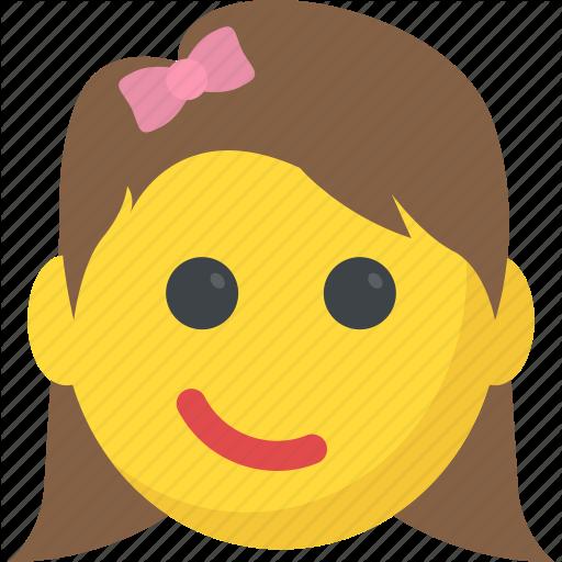 Emoticons girl emoji smiley smirking face surprised icon