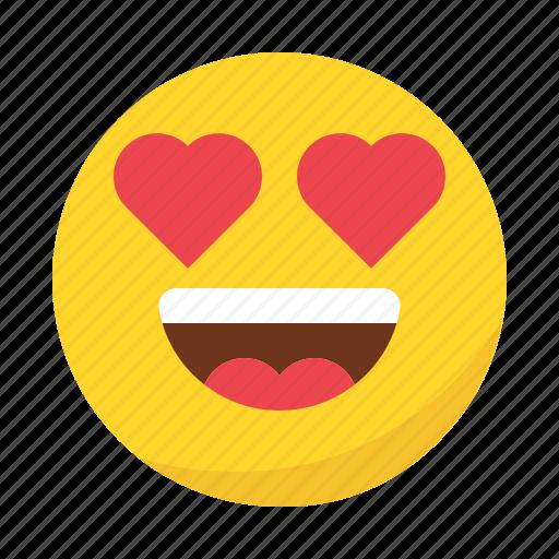 Emoji emoticon eyes happy heart in love smile icon