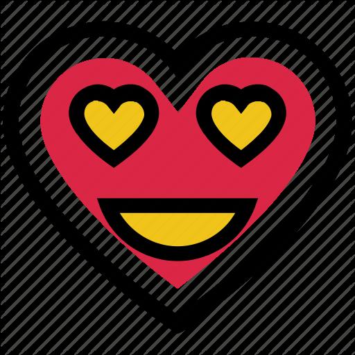 Emoji face happy heart love valentines day icon