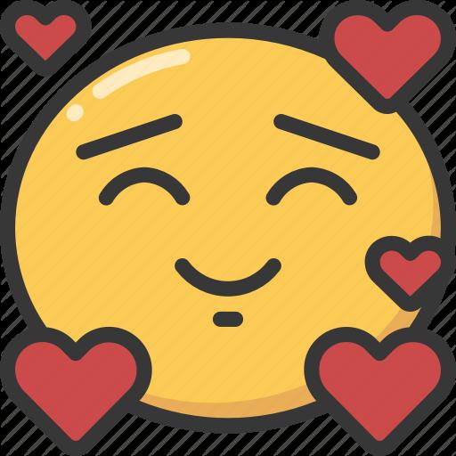 Emoji emoticon happy hearts in love loved icon