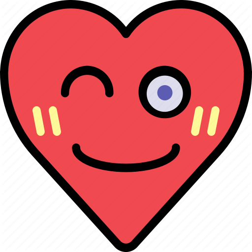 Emoji emotion happy heart smile wink icon