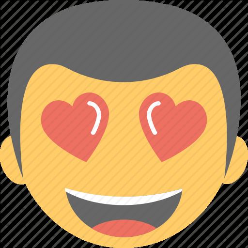 Boy emoji emoticon happy hearts in love icon