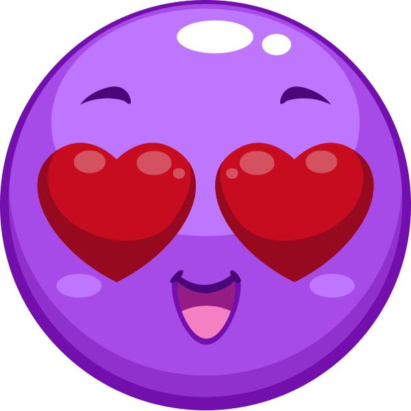 Heart Eyes Emoji Purple Emoji