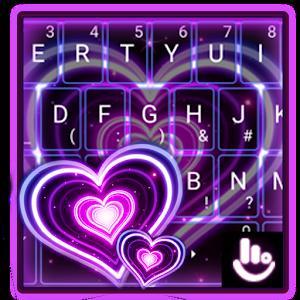 Sparkling Purple Heart Keyboard Theme For PC  Windows 78
