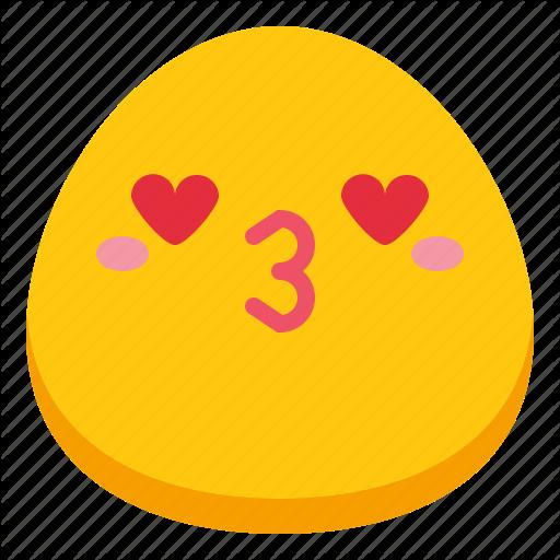Emoji heart kiss love icon