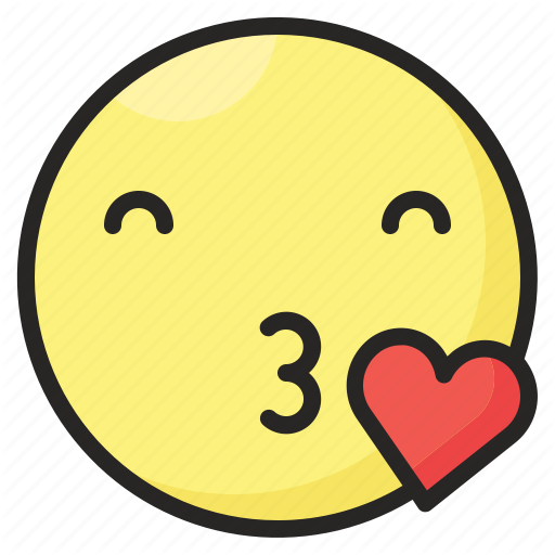Emoji emoticon emotion expression heart kiss love icon