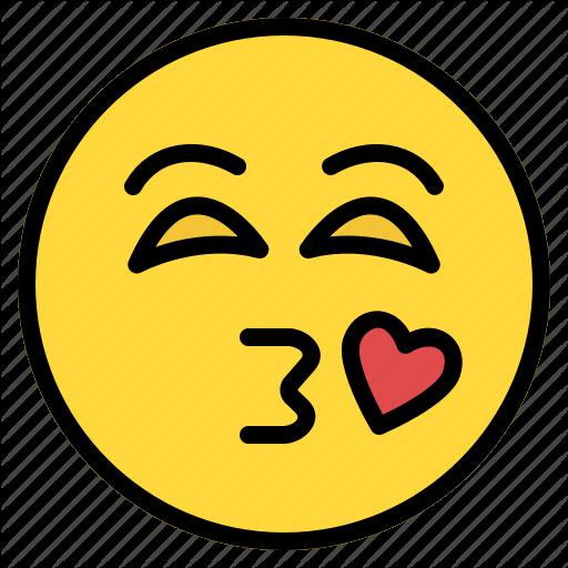 Emoji emoticon heart kiss kissing love smiley icon