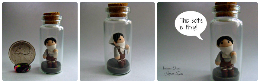 Chibi Levi cleaning a glass bottle This character from