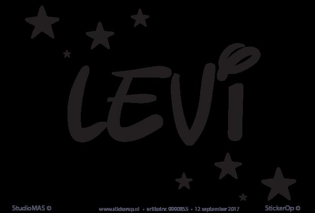 Naamsticker eigen naam  Levi met sterren