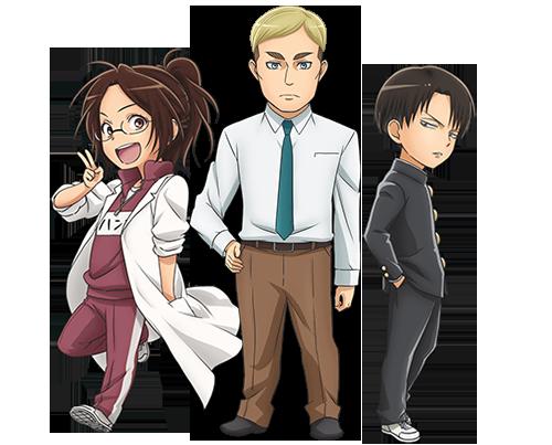 Hange Erwin and Levi Attack on Titan Junior High