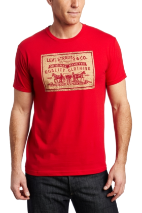 Levis Tshirts  Levis Mens New Leather Short Red  24