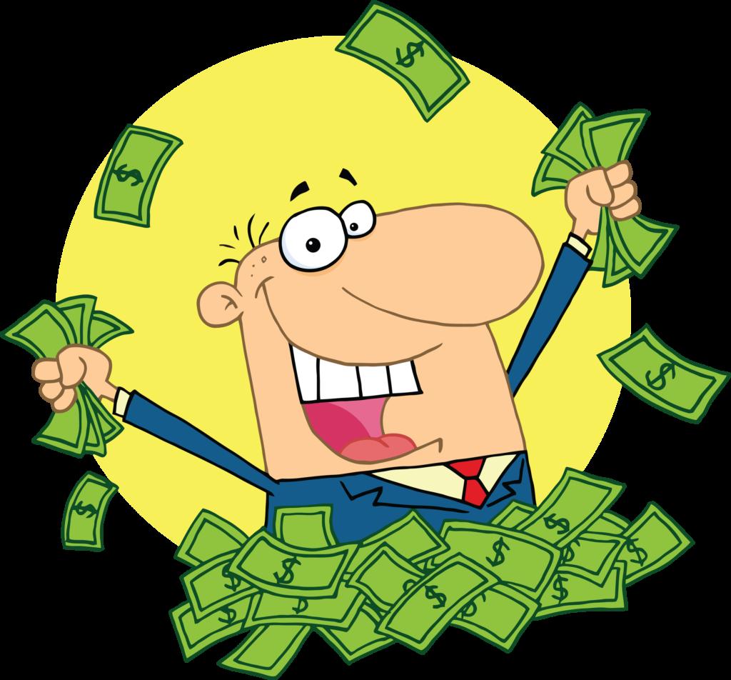 cartoon money Cartoon man holding money bag green light