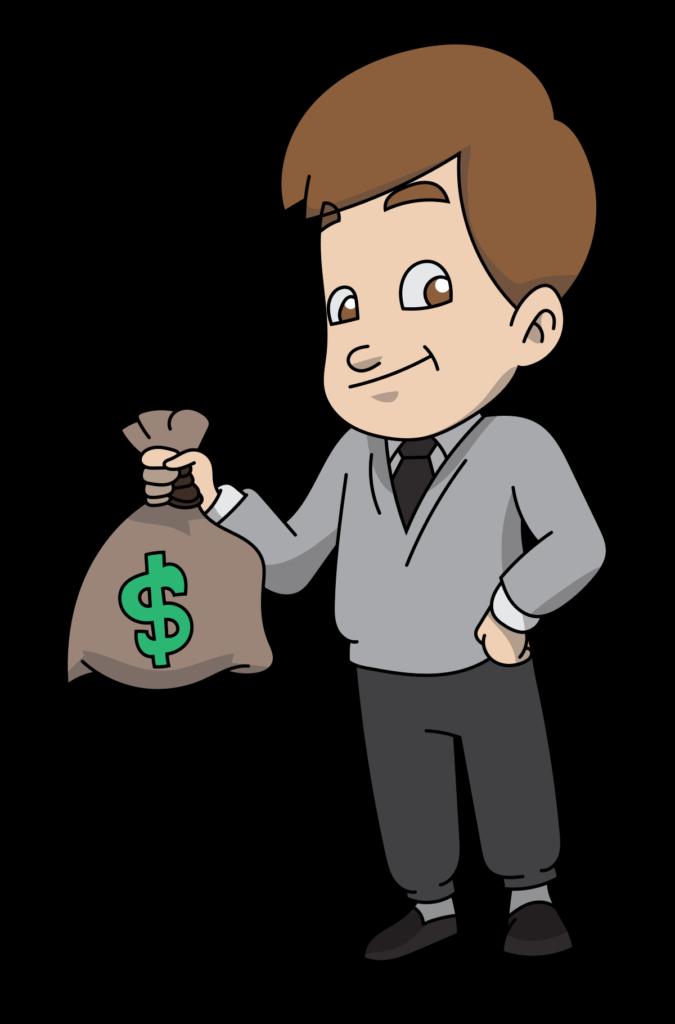 FileProud Cartoon Man Carrying A Bag Of Moneysvg