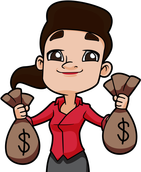 Dark Haired Woman Holding Up Two Bags Full Of Money ... - Man Holding Money Bag Drawings