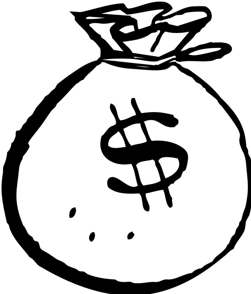 Money Bag Clip Art Black And White  Clipart Panda  Free