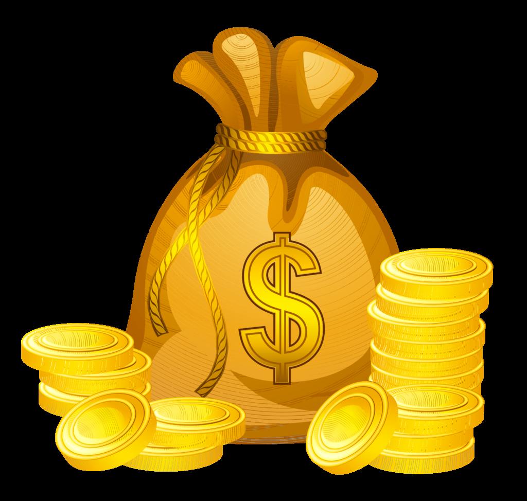 Transparent Money Bag Clip Art  เหรียญ สติกเกอร์ เงิน