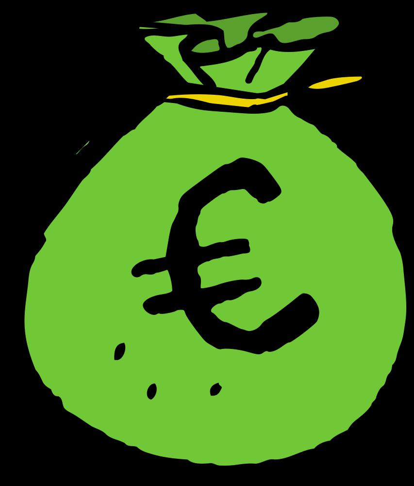 OnlineLabels Clip Art  Green EUR Money Bag