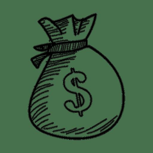 Hand drawn dollar bag  Transparent PNG  SVG vector file