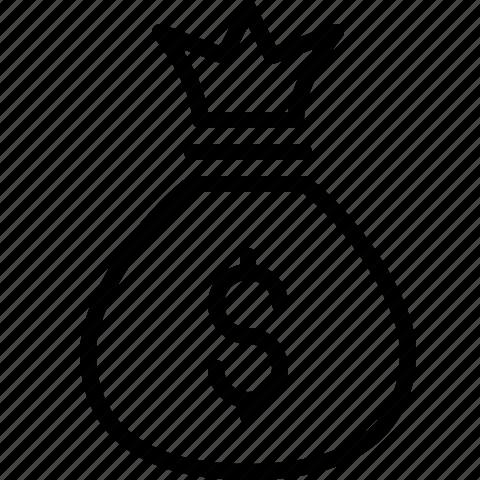 Bag cash dollars finance money shopping icon