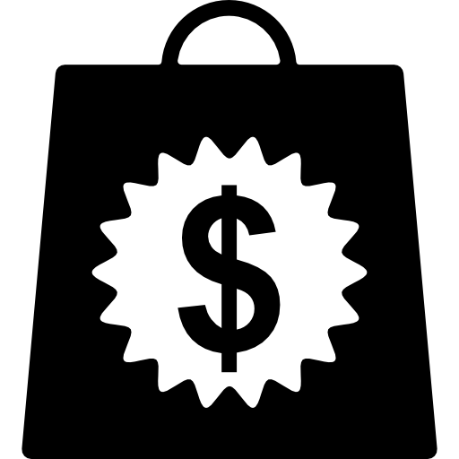Shopping bag with dollars money sign  Free commerce icons