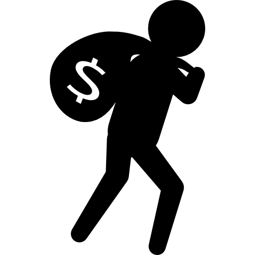 Criminal carrying money bag at his back  Free Icon