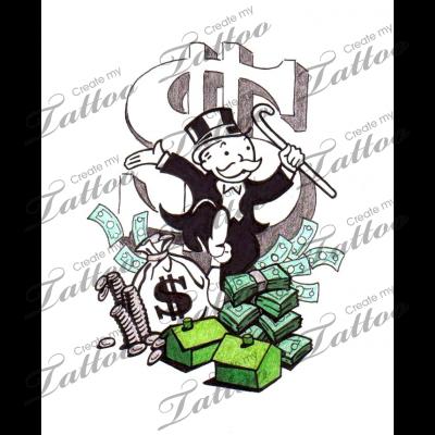 Marketplace Tattoo Monopoly Money 8037  CreateMyTattoo