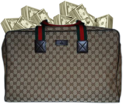 Free Gucci Duffle Bag Full Of Money PSD Vector Graphic