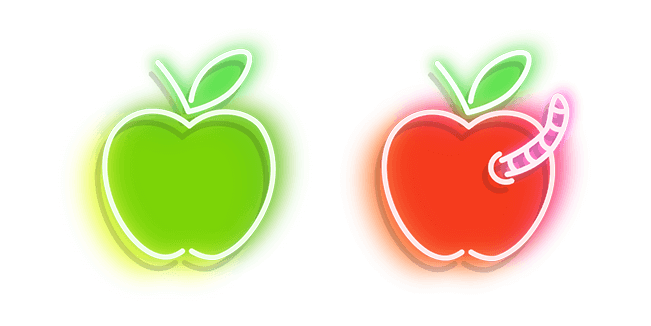 Green and Red Apple with Worm Neon  Red apple Neon Worms