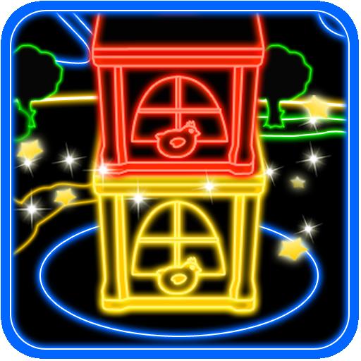 Glowing Tower  Building games Neon signs Kids room
