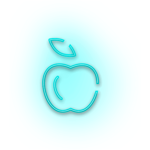 Neon blue apple icon  Transparent PNG  SVG vector file