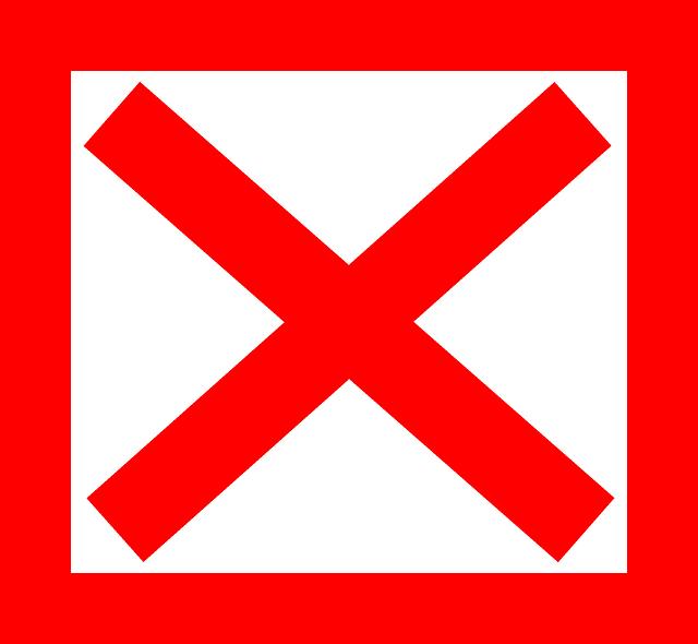 Free vector graphic Cross X Red Square Delete  Free