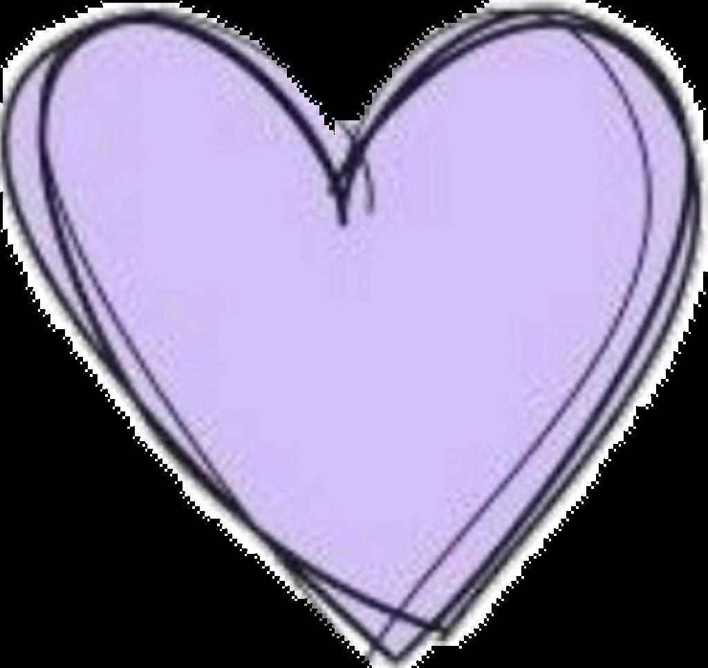Heart Doodle Purple Pastel Cute Kawaii Aesthetic Clipart