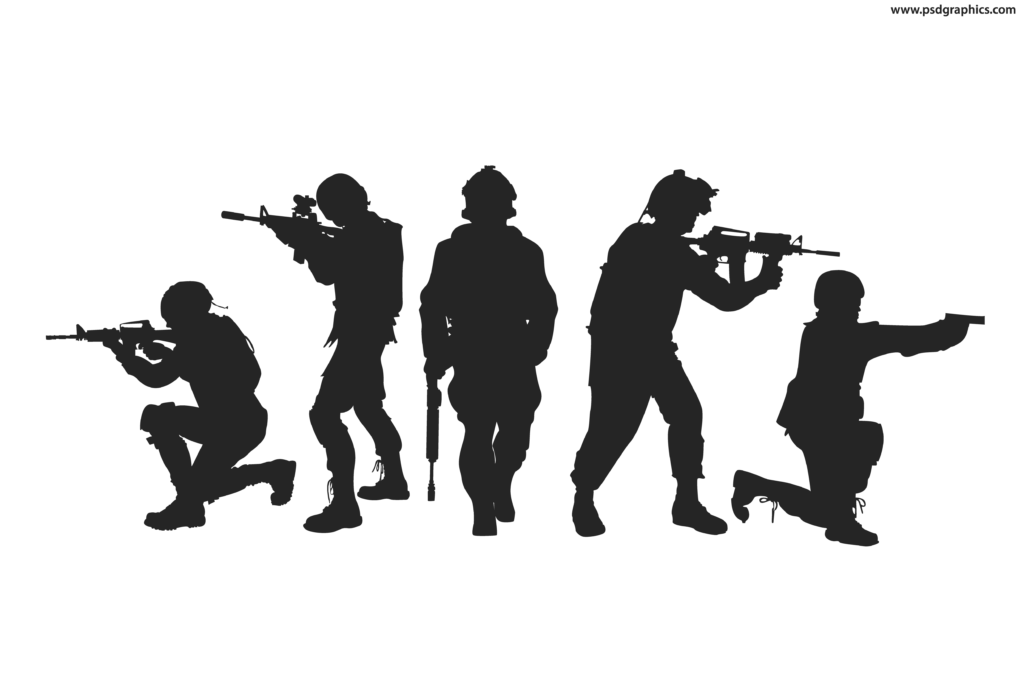 Soldiers silhouettes vector  PSDGraphics