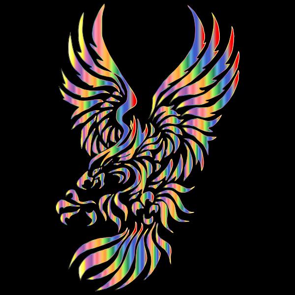 ribal Eagle Silhouette Chromatic Effect  Free SVG