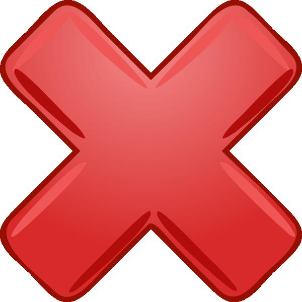 Red X Cross Wrong Not Clip Art at Clkercom  vector clip