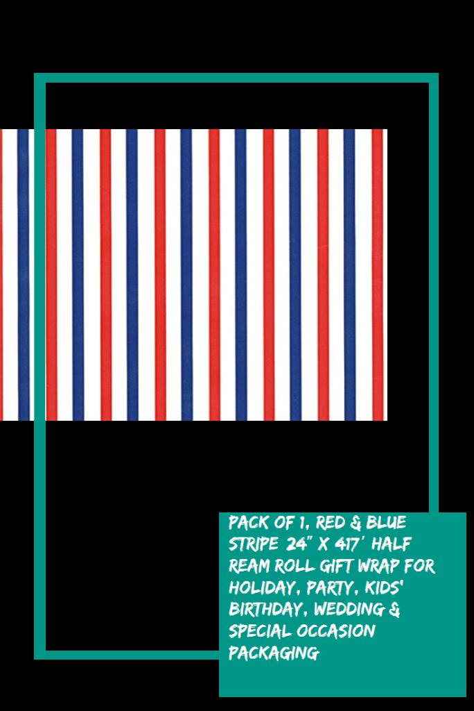 Pack of 1 Red  Blue Stripe 24 x 417 Half Ream Roll