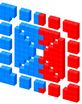 Blue Red an X Favicon